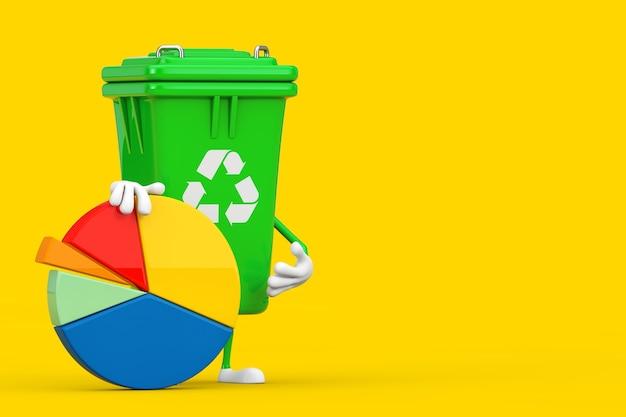 Ricicli la mascotte del carattere del bidone della spazzatura verde del segno di immondizia con il grafico a torta di affari della grafica di informazioni su un fondo giallo. rendering 3d