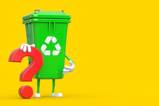 Ricicli la mascotte del carattere della persona del cestino della spazzatura verde del segno con il segno rosso del punto interrogativo su un fondo giallo. rendering 3d