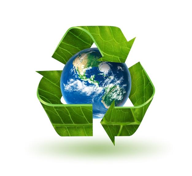 Simbolo di riciclo con texture foglia e mondo
