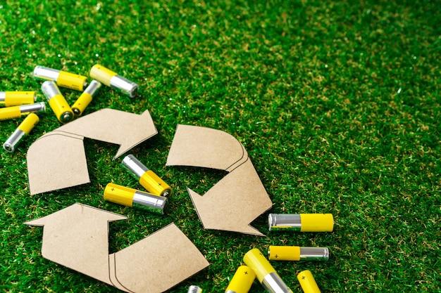 Riciclaggio del concetto ecologico di batterie alcaline usate