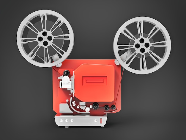 Red 3d cinema proiettore isolato rendering 3d