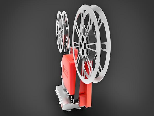 Proiettore cinematografico rosso 3d cinema isolato su sfondo grigio. rendering 3d.