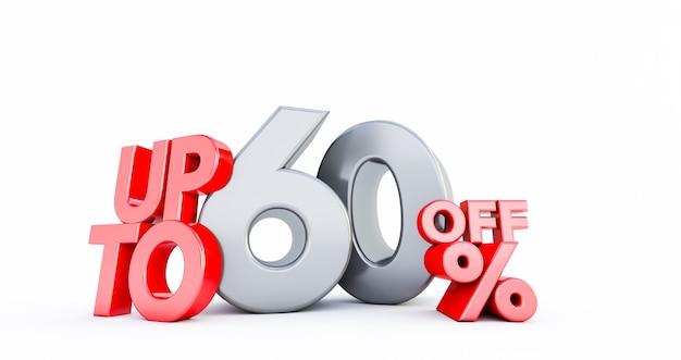 Numero rosso 60% isolato su bianco. 60 sessanta per cento di vendita. idea del venerdì nero. fino al 60%.