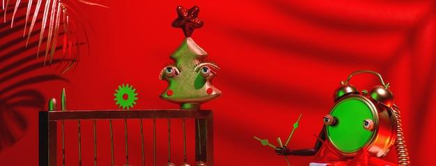 Composizione astratta rossa in natale e capodanno con albero, orologio, regalo e telefono.