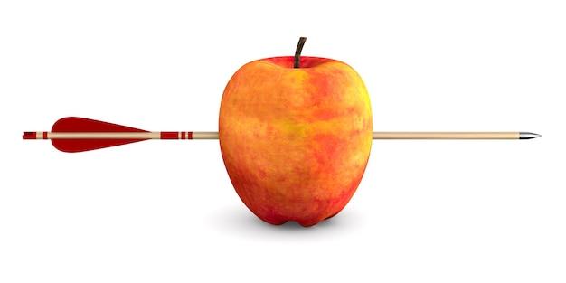 Mela rossa e freccia su uno spazio bianco. illustrazione 3d isolata