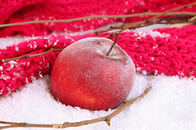 Primo piano della mela rossa nella neve