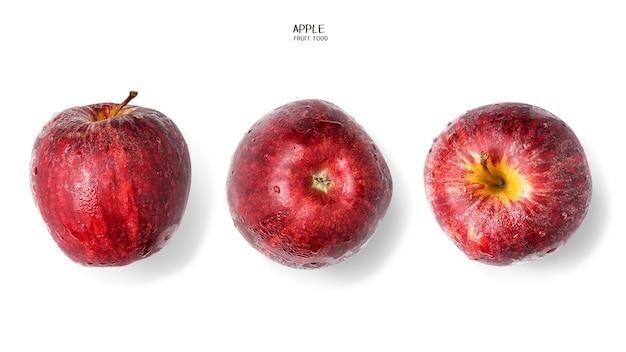Mele rosse con rugiada e gocce d'acqua su sfondo bianco. frutta sana