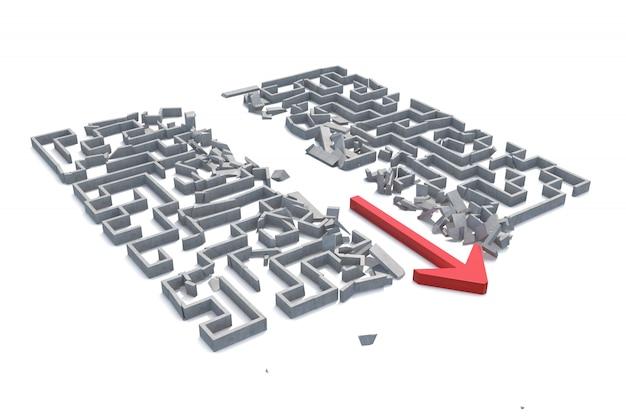 Freccia rossa che taglia attraverso il labirinto. illustrazione 3d