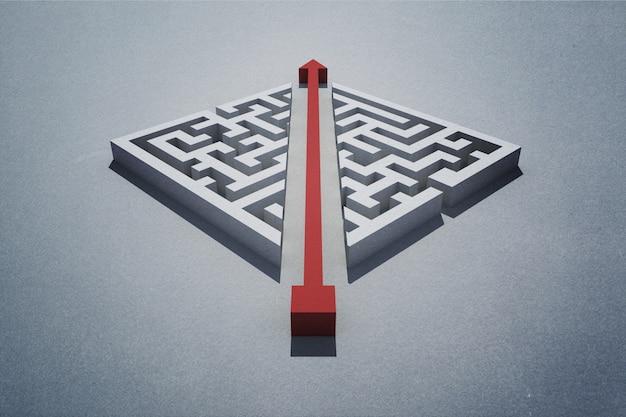 Freccia rossa che taglia attraverso il puzzle