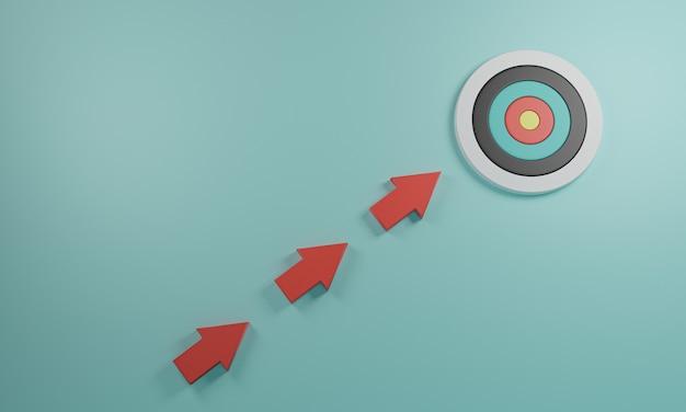 Freccia rossa in direzione di spostamento verso il bersaglio su sfondo blu per il raggiungimento dell'obiettivo aziendale e il concetto di obiettivo obiettivo.3d render