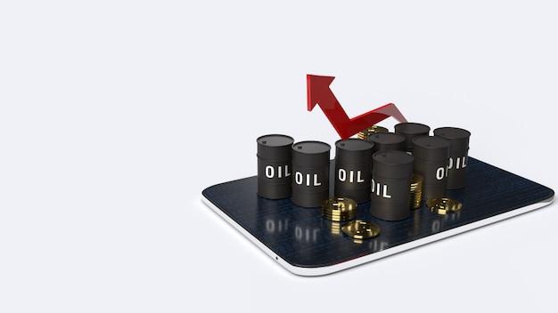 Freccia rossa poontong su e serbatoi dell'olio, rendering 3d