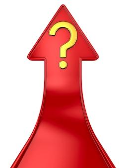 Freccia rossa e domanda su uno spazio bianco. illustrazione 3d isolata