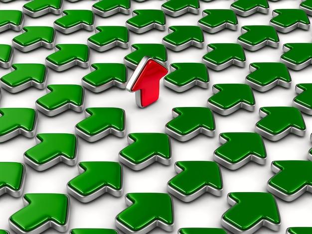 Freccia rossa che sale su sfondo bianco. illustrazione 3d isolata