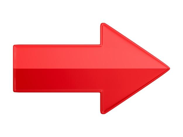 Freccia rossa su sfondo bianco. illustrazione 3d isolata