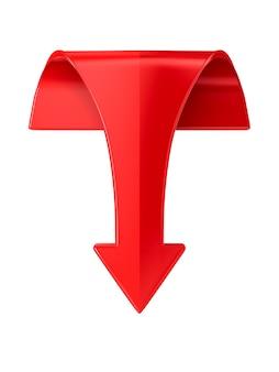 Freccia rossa su uno spazio bianco. illustrazione 3d isolata