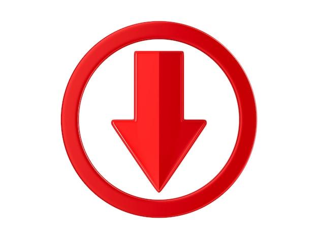 Freccia rossa su superficie bianca. illustrazione 3d isolata