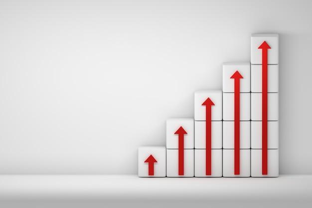 Frecce rosse rivolte verso l'alto disposte su cubi bianchi su sfondo bianco con copia spazio vuoto. illustrazione 3d.