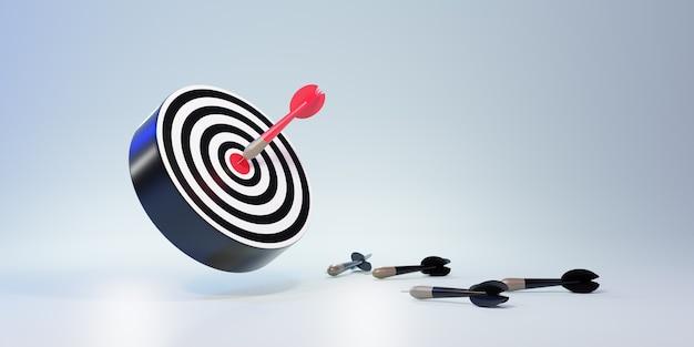 Frecce rosse che raggiungono il bersaglio centrale. bersaglio di freccette. obiettivo di affari. concetto di affari di successo. rendering 3d
