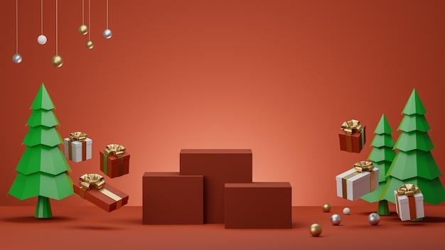Sfondo rosso con confezione regalo podio e alberi di natale per il rendering del prodotto d.