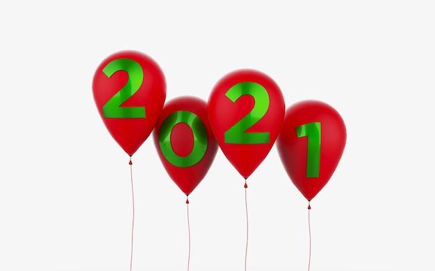 Palloncini rossi fluttuanti con numeri di capodanno serigrafati in verde, sfondo bianco