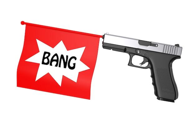Red bang flag che esce dalla pistola moderna su sfondo bianco. rendering 3d