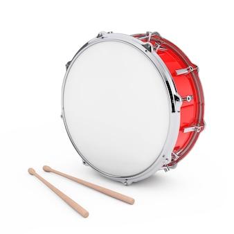 Red bass drum con coppia di bacchette su uno sfondo bianco. rendering 3d