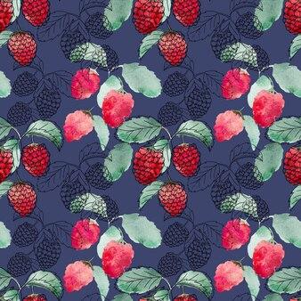 Bacche rosse con foglie verdi senza cuciture su sfondo blu scuro