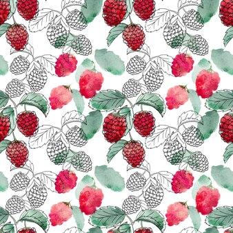 Bacche rosse con foglie verdi senza cuciture su sfondo bianco