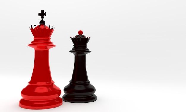 Re e regina degli scacchi rossi e neri