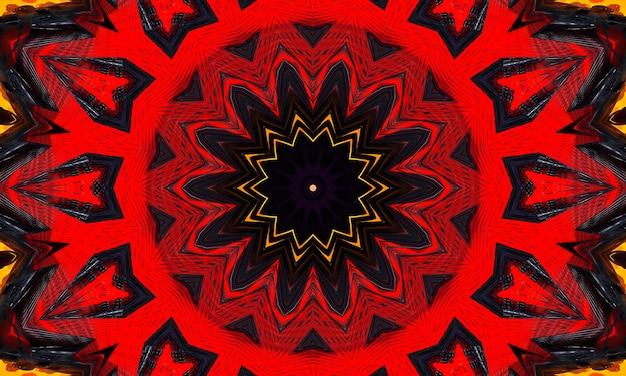 Caleidoscopio rosso e nero stella e croce con bordi luminosi viola.
