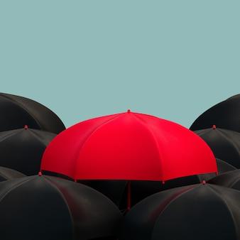 L'ombrello rosso nero si distingue dalla folla in piedi vista illustrazione 3d concetto rendering