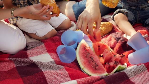 Coperta rossa con bicchieri di plastica di anguria tagliata e succo fresco preparato per picnic in famiglia vicino vista superiore