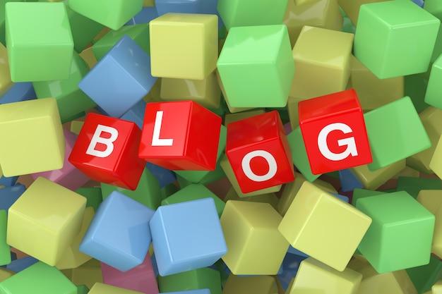 Cubi rossi del blog in primo piano estremo del mucchio dei cubi multicolori. rendering 3d