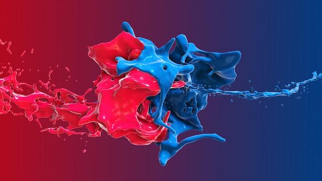 Il liquido astratto rosso e blu si scontra in un'illustrazione della spruzzata 3d