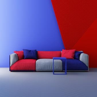 Sedie di colore rosso e blu, divano, poltrona in uno sfondo vuoto. circondato da forma geometrica concetto di installazione minimalismo art. rendering 3d mock up