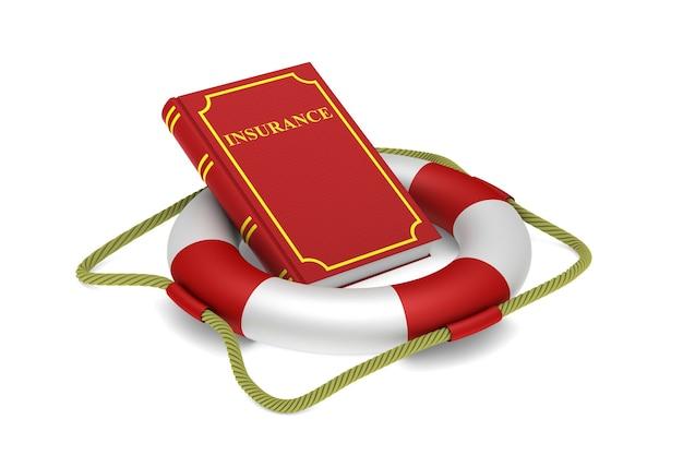 Libro rosso e salvagente su bianco
