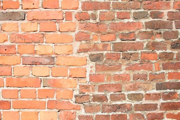 Muro di mattoni rossi, compreso l'imbiancatura e lo sbiadimento di alcuni mattoni, in costruzione per lo sfondo.