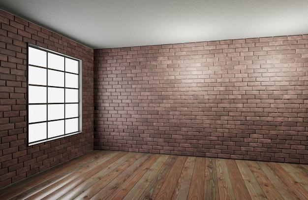 Muro di mattoni rossi con pavimento in legno e una grande finestra. design della stanza in stile loft per il tuo design. muro di mattoni rossi vuoto per il posizionamento del tuo design. rendering 3d.
