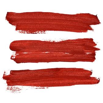 Pennellate rosse isolate su uno sfondo bianco. illustrazione raster