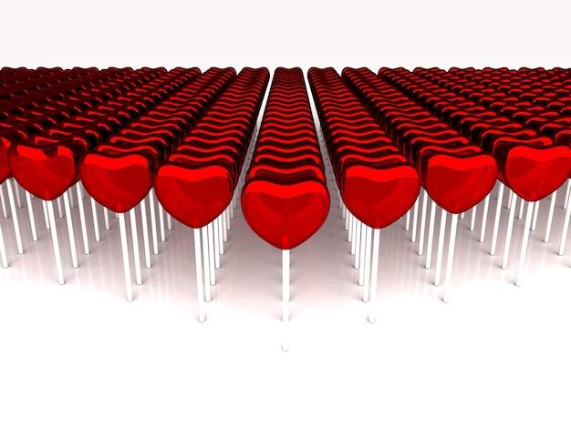 Caramelle rosse su un bastone. molti dolciumi 3d rendono