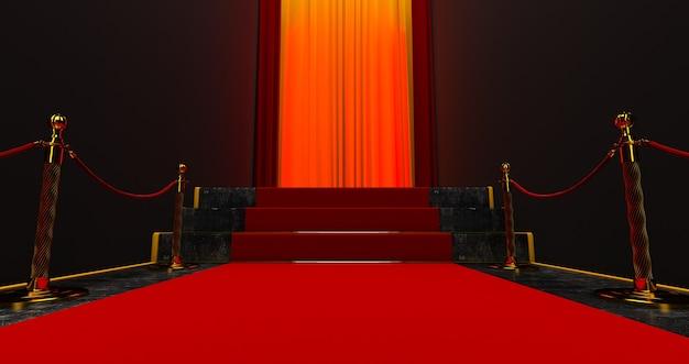 Tappeto rosso sulle scale su uno sfondo scuro, il percorso verso la gloria, rendering 3d