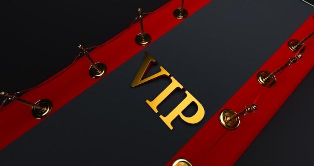 Tappeto rosso sulle scale su uno sfondo scuro con la parola vip d'oro, il percorso verso la gloria, rendering 3d