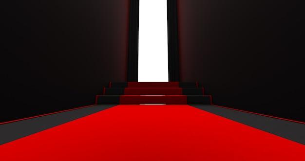 Tappeto rosso sulle scale su uno sfondo scuro con la luce alla fine, il percorso verso la gloria, rendering 3d