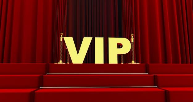 Tappeto rosso sulle scale con scritta vip dorata. il percorso verso la gloria. le scale salgono. successo aziendale. tappeto di velluto rosso.