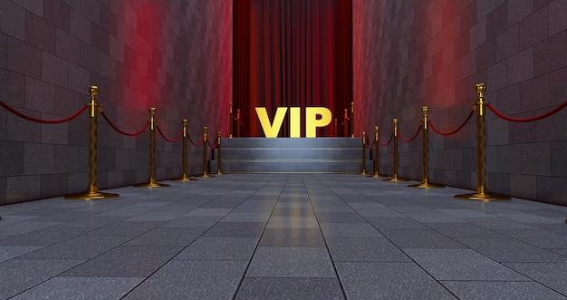 Tappeto rosso sulle scale con scritta vip dorata.