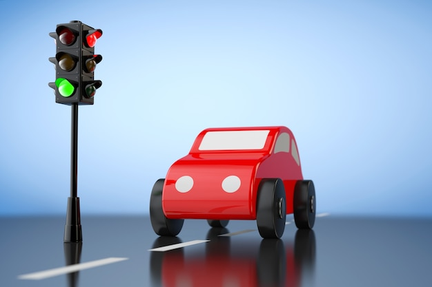 Red cartoon toy car con semaforo su sfondo blu. rendering 3d