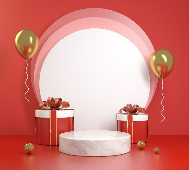 Red celebration podio con regali box set 3d rendering