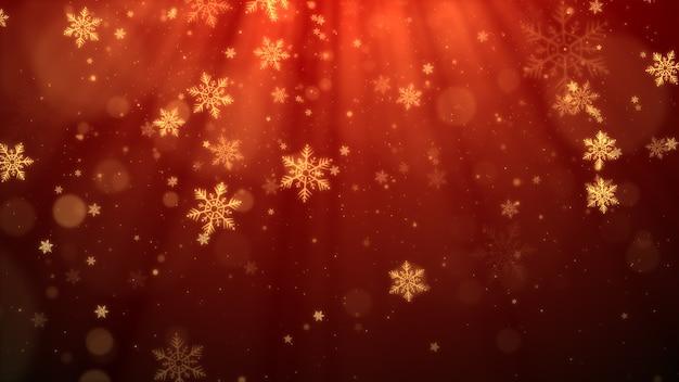 Sfondo di natale rosso con fiocchi di neve, luci brillanti e bokeh di particelle in tema elegante.