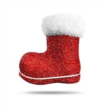 Calza rossa di natale con struttura lucida isolata. calza o scarpe di natale.