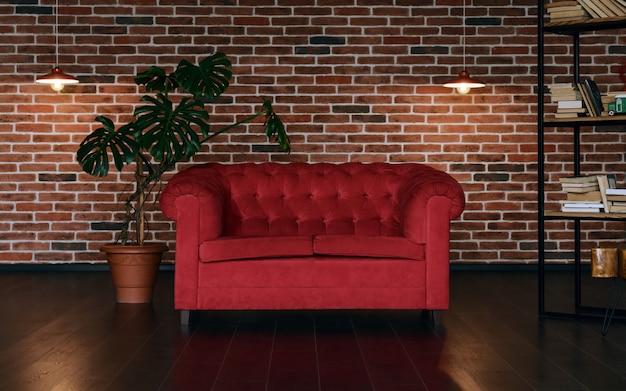 Divano classico rosso e pianta d'appartamento in camera in stile loft con muro di mattoni